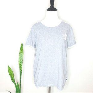 🌻ADIDAS Women's Gray 3 Stripe Tee EUC